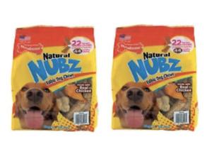 Nylabone Natural NUBZ Edible Dog Chews 22 Count 2.6 lb Bag 2 pack