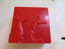 Hickok Red plastic box horse deer stag buck cigarette trinket desk art deco 50s