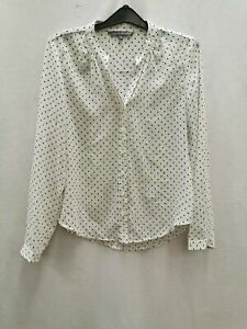Laura-Ashley-ladies-sheer-top-blouse-cream-black-dots-size-10-polyester