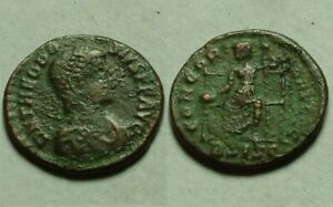 Rare original ancient Roman coin Theodosius I 383AD Roma globe spear Siscia mint