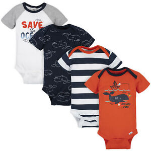 8-Pack Onesies Brand Baby Boy Short Sleeve Navy /& Orange Bodysuits
