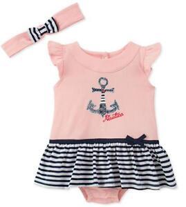23490c87f4e0 Nautica Infant Girls Pink   Navy Sunsuit W Headband Size 3 6M 6 9M ...