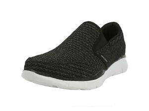 SKECHERS-Equilizer-Slickster-Black-White-Knit-Slip-On-Memory-Foam-Men-Shoes