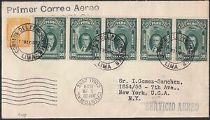 Peru-First-Flight-Cover-Fam-9-Lima-to-New-York-via-Cristobal-Canal-Zone-1929