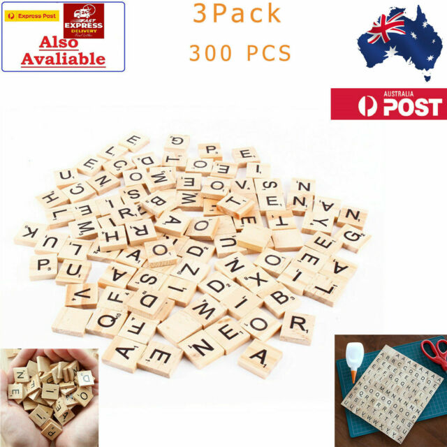 300pcs Wooden Scrabble Letters Alphabet Tiles Letters & Numbers For Game &Crafts