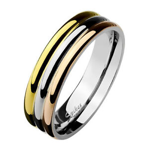 Women-039-s-Ring-Stainless-Steel-Tricolor-Triple-Jewellery-Rose-Gold-Plated