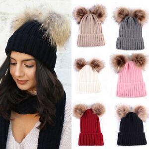Braided Crochet Wool Knit Beanie Beret Ski Ball Cap Baggy Womens ... d52c9e034