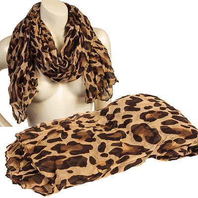 NEW SCARF & LEOPARD PRINT INFINITY SCARF LIGHT ANIMAL PRINT CHEETAH WRAP CRINKLE