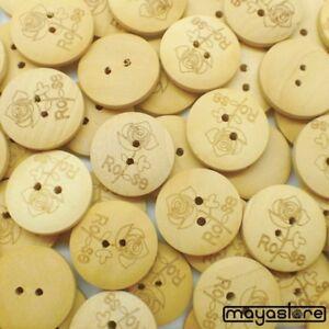 20mm-Botones-de-madera-natural-con-Rosa-Flor-Boton-Elegante-Retro-Noble
