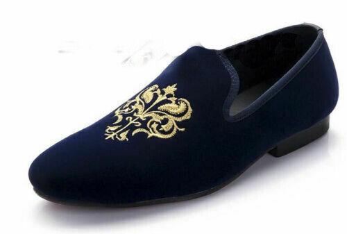 Zapatos para hombre hecho a mano de terciopelo azul bordado Mocasines & Slip On fiesta formal vestido de