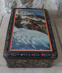 Ancienne-boite-metal-biscuits-galettes-France-cookies-vintage-montagne-ski-1950s