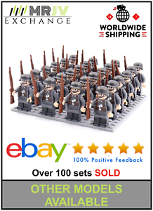 24-Minifigures-German-Army-3-Soldiers-Military-WW2-World-War-II-AXIS-Toys-UK
