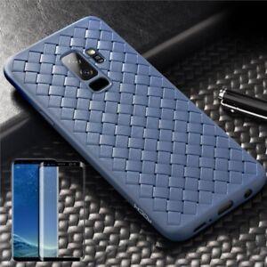 Para-Samsung-Galaxy-S9-Plus-Original-Rock-Silicona-Funda-Azul-4D-Cristal