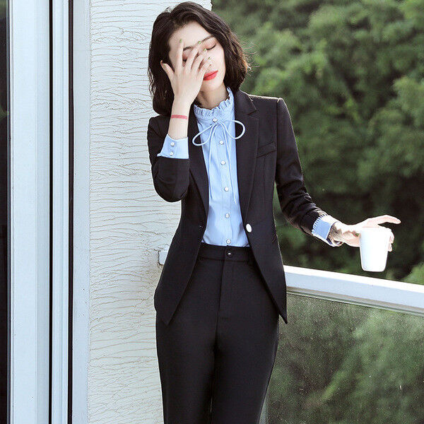 Dimensioneur completo donna nero giacca a manica lunga e pantalone slim cod 7149