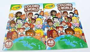 Lot-of-2-Crayola-Colors-of-the-World-Activity-and-Coloring-Book-48-Pages