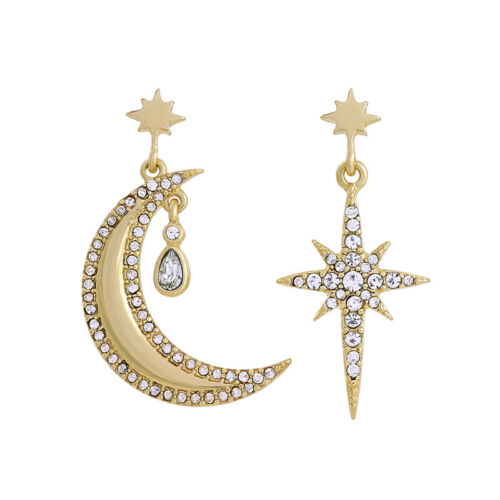 Stern Kristall Art Deco AA26 Ohrringe Kerzenhalter Mond Halb