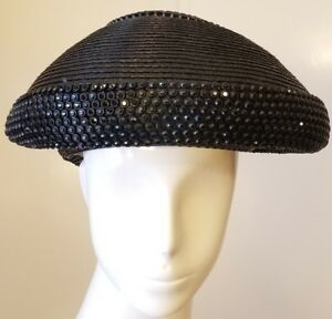 8f7aa7ae98007 Image is loading Authentic-Vintage-Jack-McConnell-Black-Straw-Beaded-Beret-