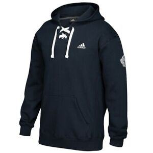 Adidas-Men-039-s-Black-Badge-Of-Sport-Logo-Lace-Up-Pullover-Hoodie