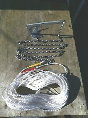 2kg Bruce  boat anchor kit 5m  Of 7mm chain 75m 10mm  Rope white
