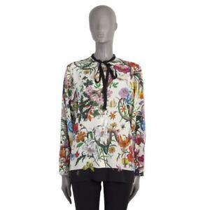 53167-auth-GUCCI-white-FORAL-SNAKE-PRINT-silk-Blouse-Shirt-46-XL