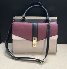 10c83b207ef Aldo Taupe Burgundy Black Colorblock Faux Leather Structured Satchel Handbag