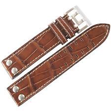 20mm Di-Modell Venezuela Mens Tan Alligator-Grain Leather Rivet Watch Band Strap