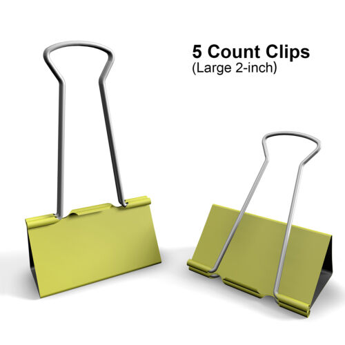 Binder Clips of 3//4 5//4 2 in Assorted Sizes assortment Colored paper clamp