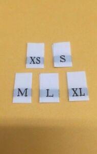 SIZE TAGS XS S M L XL 50 PCS  WOVEN CLOTHING LABELS BLACK 10pcs each size