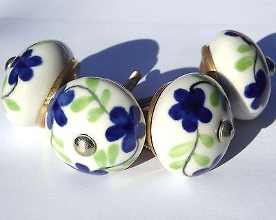4 x White round knobs Dark Blue flowers Green foliage drawer door pulls (chrome)