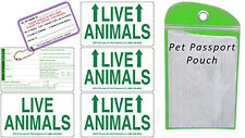 Live Animal Sticker Label Set of 5 w/ Pet Passport Pouch GREEN