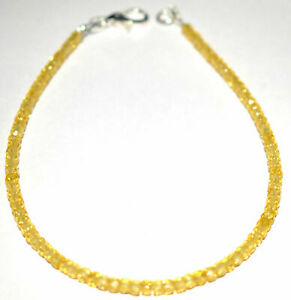 3-mm-Yellow-Zircon-Gemstone-Round-Cut-925-Sterling-Silver-7-034-Strand-Bracelet-KM7