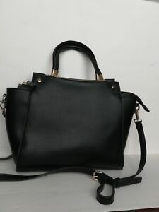 Urban-Expressions-Black-Vegan-Leather-Handbag-Purse-Large-with-crossbody-strap