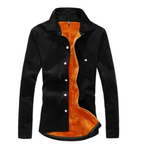 Mens Winter Fur Lined Casual Long Sleeve Button Front Shirts Casual Blouse U680
