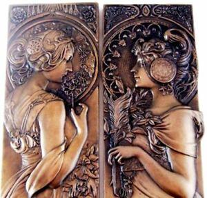 PAIR-Mucha-Style-Bronze-Wall-Plaques-Art-Nouveau-Wall-Art-Sculptures