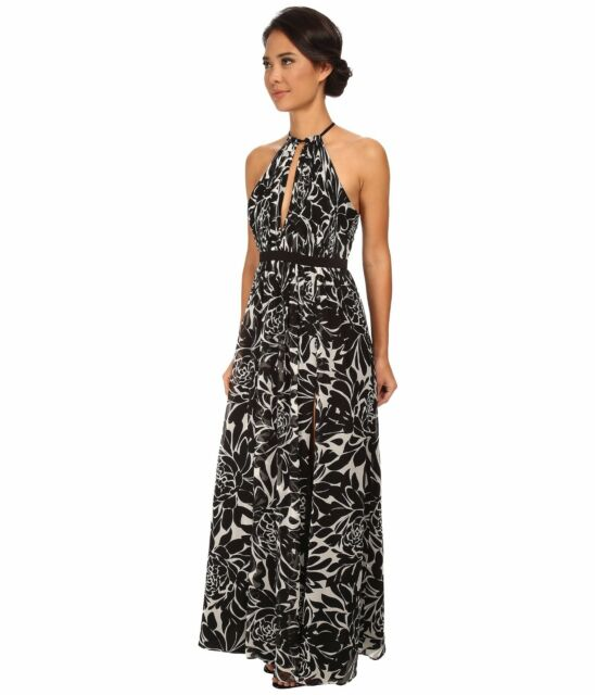 New Nwt Jill Stuart Black Print Silk Crepe Maxi Dress Open Back