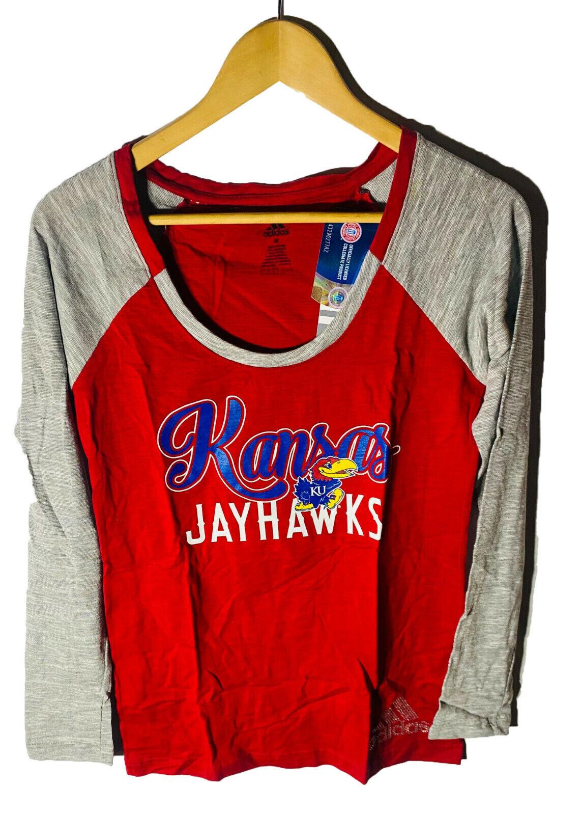 adidas Women's Kansas Jayhawks Long Sleeve T-Shirt Red/Gray MEDIUM
