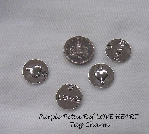 Jewellery Craft Design Tibetan Silver LOVE HEART Disc Tag Charm Pendant Bead PK