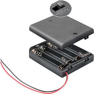Batteriehalter 4 x Mignon Gehäuse + Schalter Ein / Aus AA Mignonzelle  8342