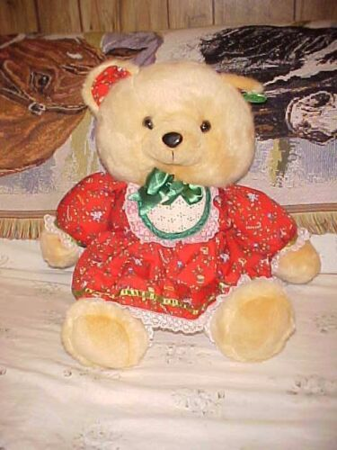 "1991 23/"" Tan K Mart Christmas Teddy Bear Red Dress Girl Tags attached Rare"