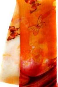 Orange-amp-Red-Butterfly-Scarf-Soft-Semi-Sheer-Polyester-Georgette-Butterflies
