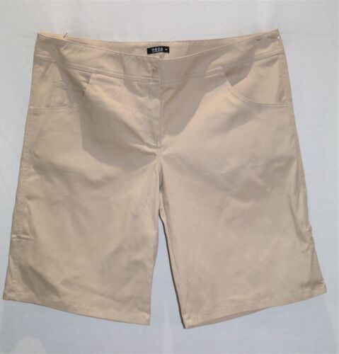 MODA Brand Beige Adjustable Casual Bermuda Walking Shorts Sizes 16-26 BNWT
