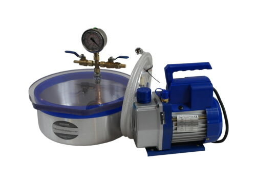 Set for silicone resin degassing vacuum chamber 4.8l pump 51l//min