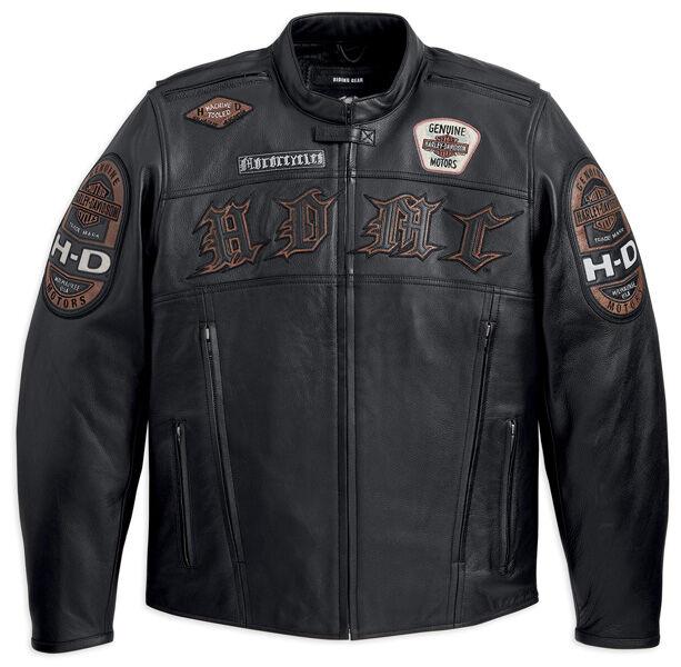 Harley Davidson Mens MOTO Black Leather HDMC MOTORCYCLE Jacket XL 97129-13VM New