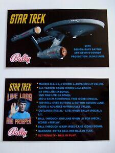 * * 'STAR TREK' Bally 1979 Custom  Instruction/Apron Cards * * (New)