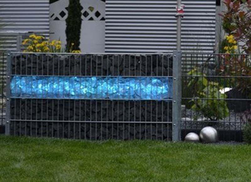 Led Leuchte Gabionen Glas Stein Zaun Beleuchtung 45cm 360° blau  6853
