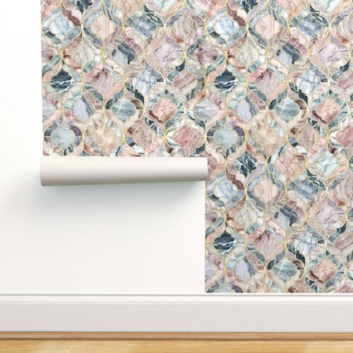 Removable Water-Activated Wallpaper Moroccan Tile Marble Stone Quartz Onyx