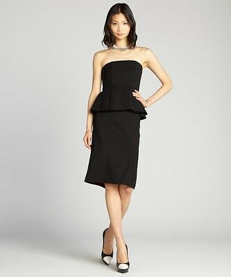 New Alice + Olivia Black 'Shanley' Strapless Peplum Dress $495.00 Size 6