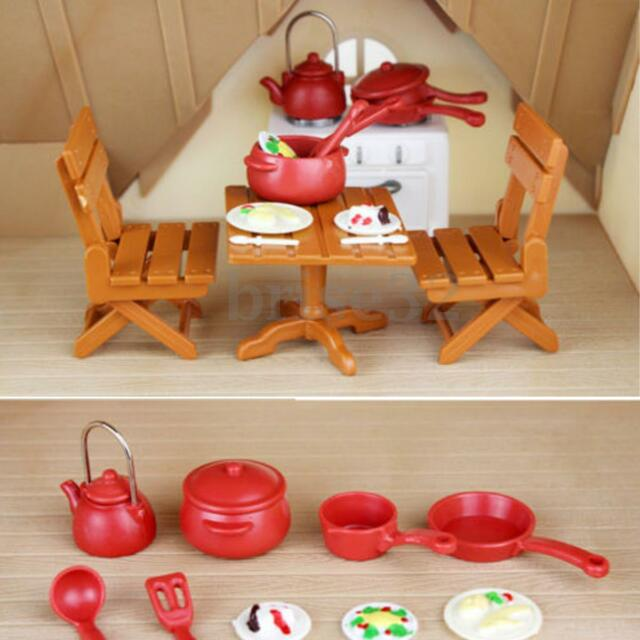 Plastic Dining Table Miniature Kitchen Doll House Furniture Toy Set ...