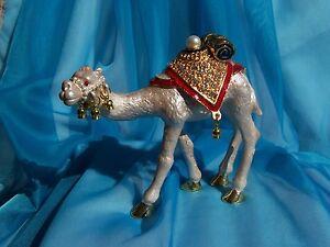 SWAROVSKI CRYSTAL BEJEWELED ENAMELED HINGED TRINKET BOX - JEWELED RIDING CAMEL