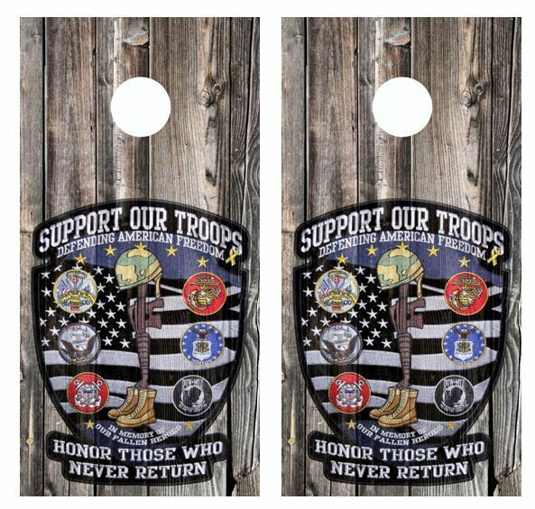 Support Our Troops Barnwood Cornhole Board Wraps  FREE LAMINATE   high discount